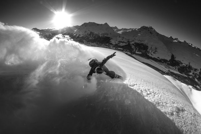 Beauty In Nature Blackandwhite Blacklight Cold Temperature Extreme Sports Landscape Mountain Snow Snowboard Snowcapped Mountain