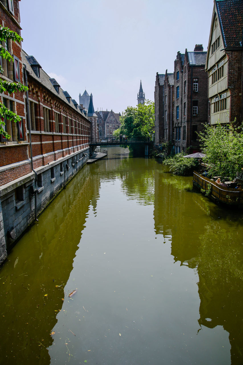 architecture, built structure, building exterior, reflection, water, waterfront, canal, outdoors, day, no people, city, sky, nature, tree
