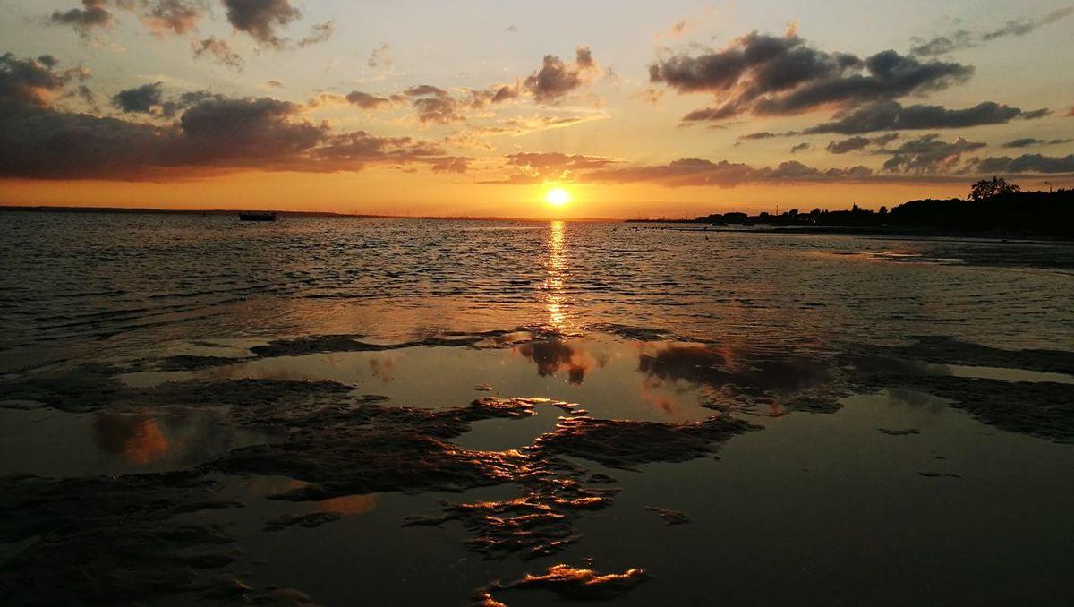 Sunset Sun Reflection Sky Landscape Cloud - Sky Sea Tourism Sand Water Dramatic Sky Tranquility Travel Sunlight Beach Summer Dusk Social Issues Vacations Silhouette Kuźnica Kużnica , Hel , Poland , Baltic Sea Poland