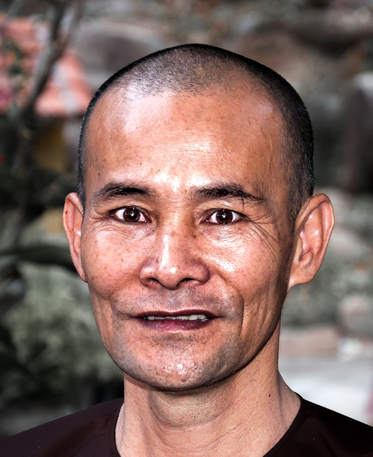 Close-up Front View Headshot Human Face Looking At Camera Man Portrait Real People Shaved Head Vietnam