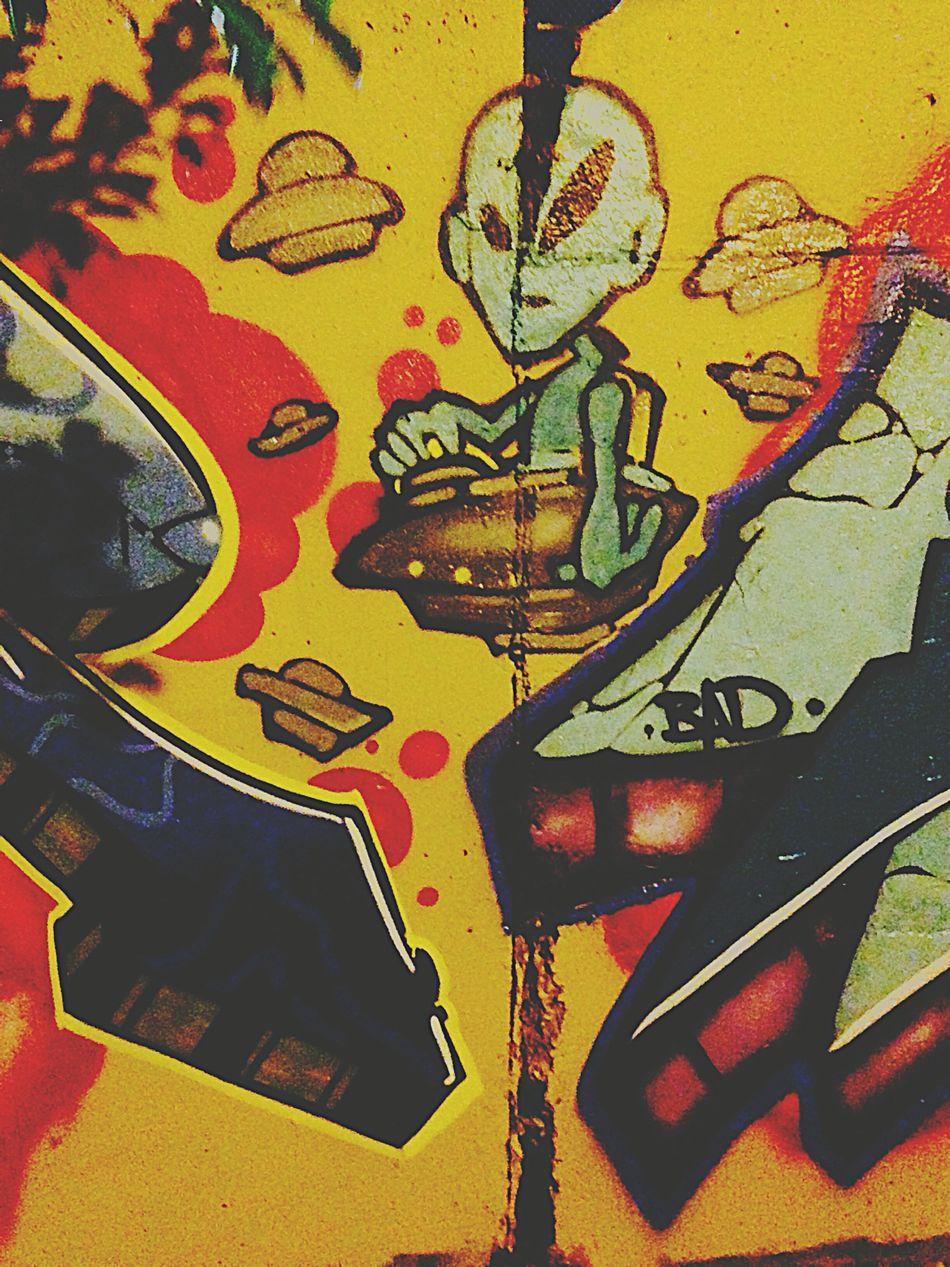 Enought said Aliens Human Misterys Graffiti Spaceships Art