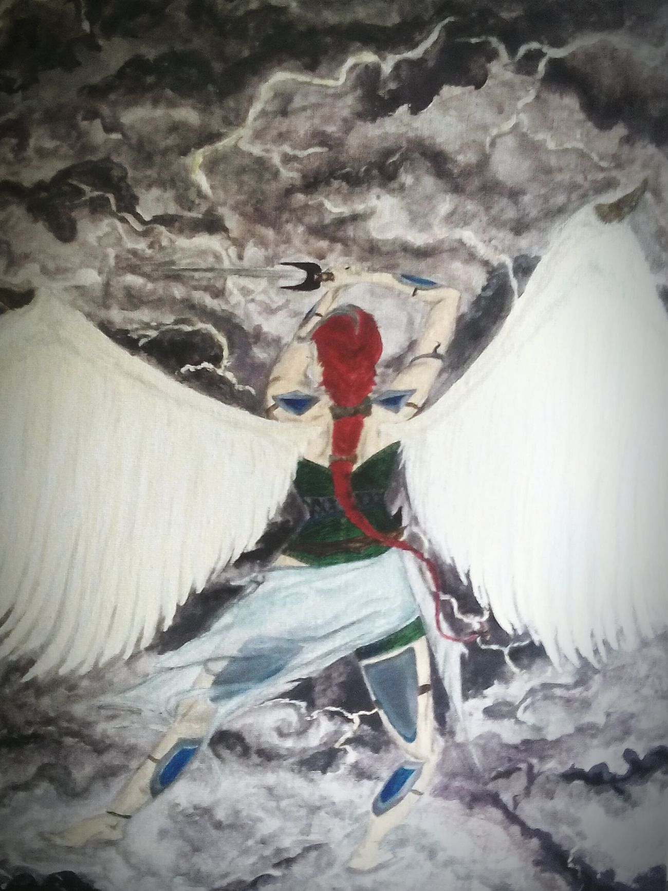 The latest Acrylic Painting ~ Red Headed Valkyrie Warrior Battling The Elements... : of Thunderstorm with two Swords