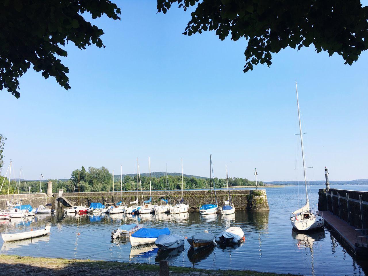 Boat Clear Sky Sunny Day Yacht Harbor Lake Lago Maggiore, Italy Angera Sunny Italy