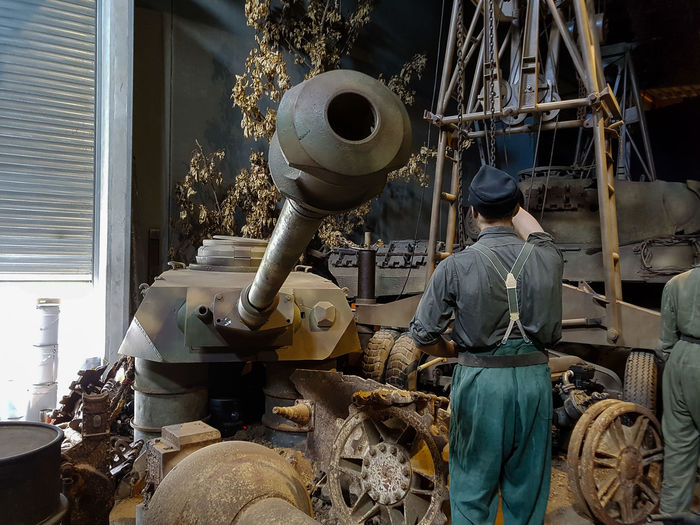 Overlord Museum, Colleville-sur-mer, Normandy, France, July 2017 D-Day Gun Operation Overlord Overlord Museum Workshop Education Exhibition Exhibits History Museum Overlord Panther Tank Weapon