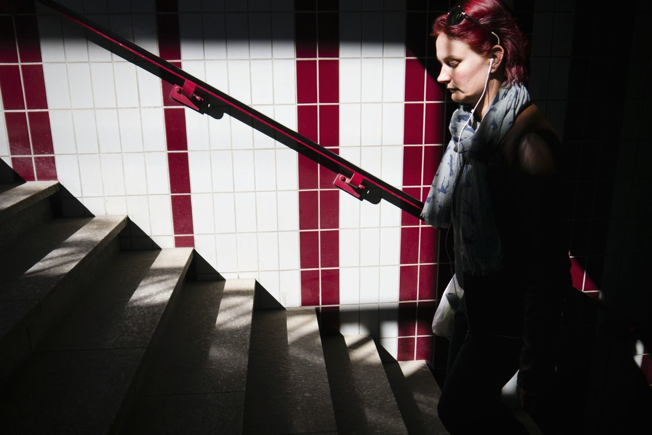 Redhead Ginger Notes From The Underground Stairs Walking The Stairs Streetphotography The Human Condition The Moment - 2015 EyeEm Awards The Street Photographer - 2015 EyeEm Awards Up Close Street Photography
