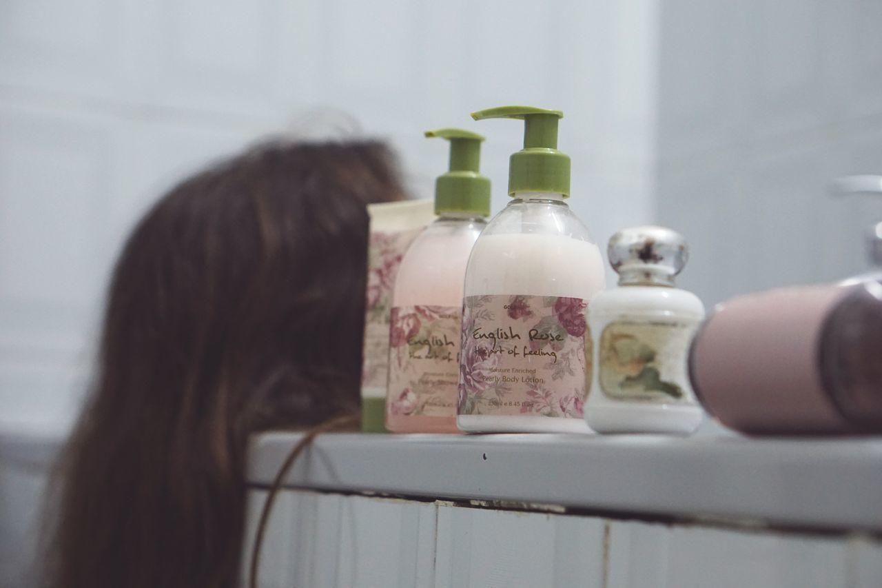 Shower time. Bottle Indoors  Rear View Perfume One Person Spray Bottle Close-up Shower Shower Time Clean Hair In The Bathroom Hair Pink Vintage Vintage Style Millennial Pink Taking Shower Relaxing Moments Relaxing In The Bath (: Relaxing Time Relaxing In The Bathroom