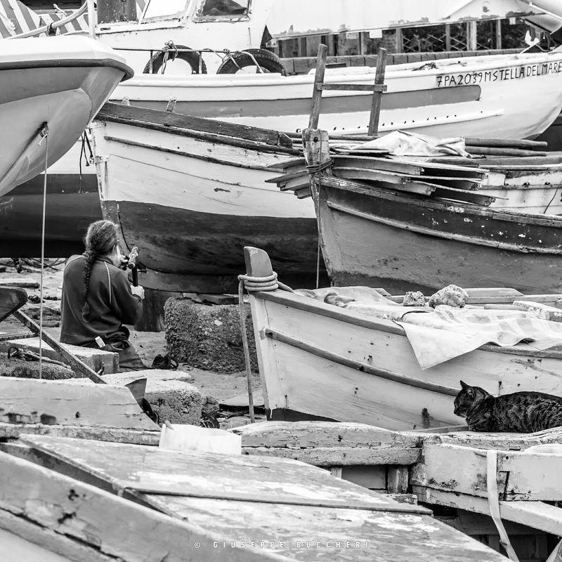 Fishing Boat Fisherman Working Sicily Sicilia Working Hard Pescatore Repairs Starting A Trip Monochrome
