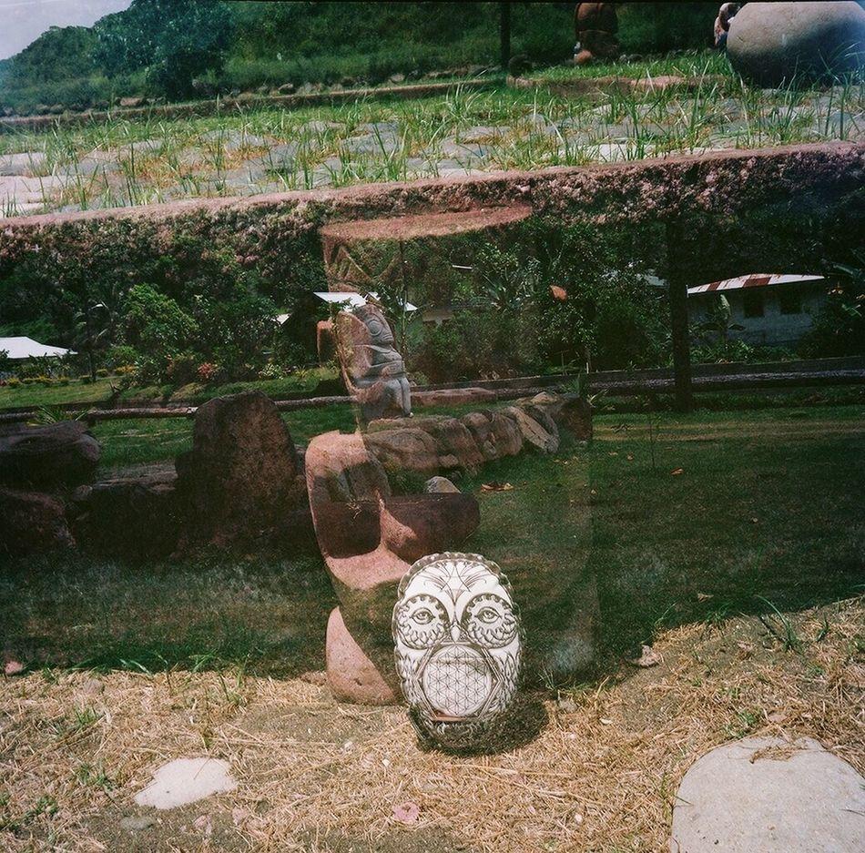 Tiki God Taking Photos Double Exposure Real Film