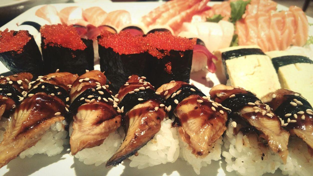 Sushi, anyone? Salmon Sashimi Shrimp Unagi Fish Roe All You Can Eat