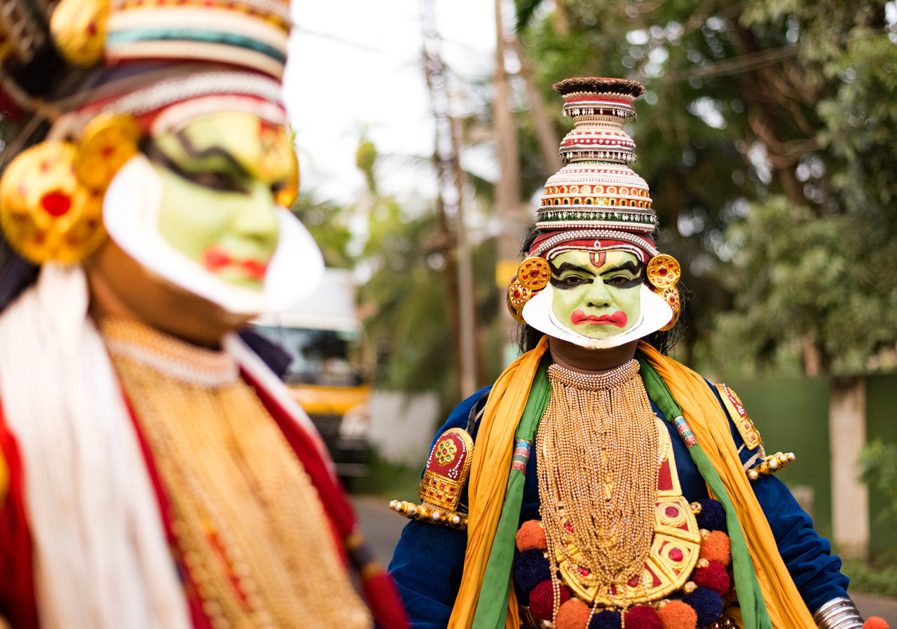 mask - disguise, celebration, focus on foreground, religion, real people, day, multi colored, outdoors