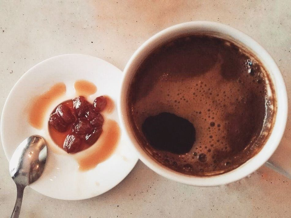 Coffee Cup Food And Drink Greek Coffee  High Angle View Indoors  Jam No People Ready-to-eat Spoon Sweet Sweet Food Table