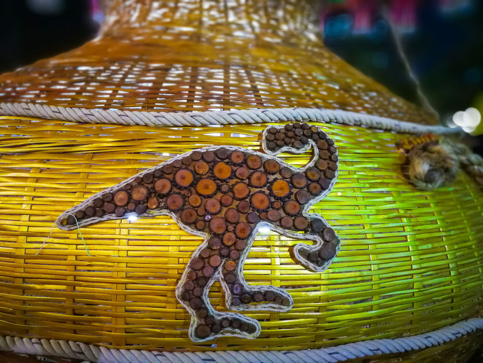 Harvest Time Night Fishing Tools Thai Pattern Abstract Bamboo Fishing Traps Design Interior Oriental Festival Arrangement Decorative Stick Branch Vintage Traditional Colorful Culture Carnival Background Seasoning Dinosaur Sign