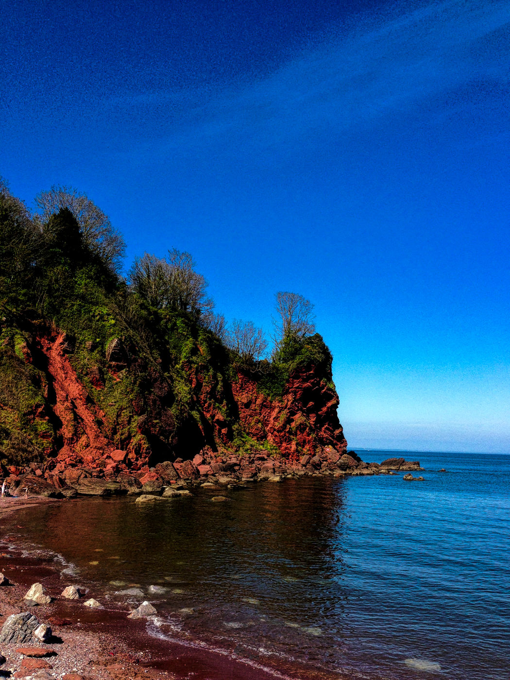 Beach Beauty In Nature Blue Clear Sky Day Maidencombe Devon Nature No People Outdoors Rock - Object Scenics Sea Sky Tranquil Scene Tranquility Tree Water