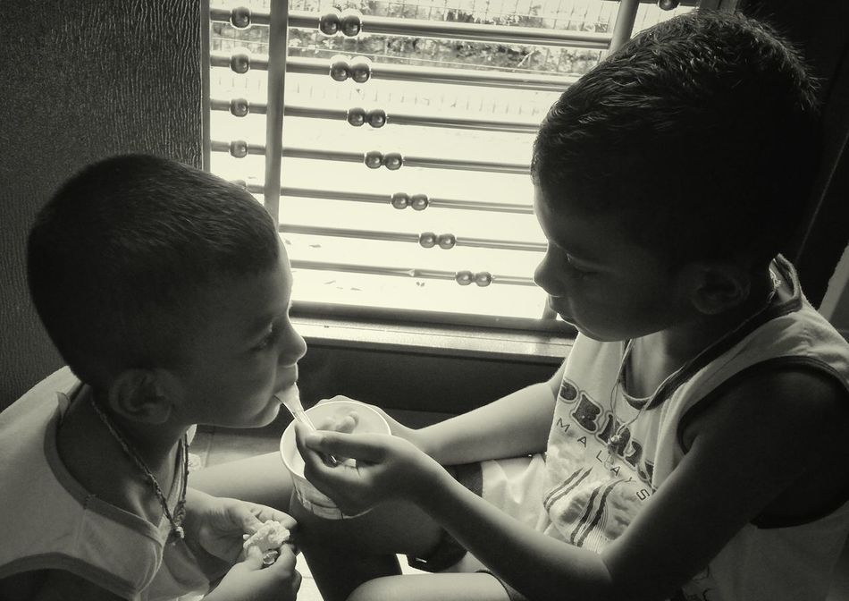 Two People Brother Childhood Bonding Togetherness Sharing A Cup Ice Cream Hot Summer Day Special Moments EyeEmNewHere EyeEm Diversity TCPM