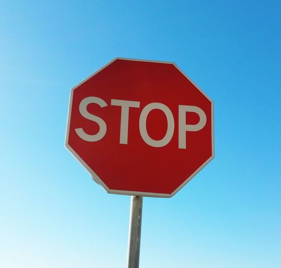 Stop Sign Clear Sky Road Sign Sky Text No People Red Communication Outdoors Close-up Urban Life Lisbon - Portugal