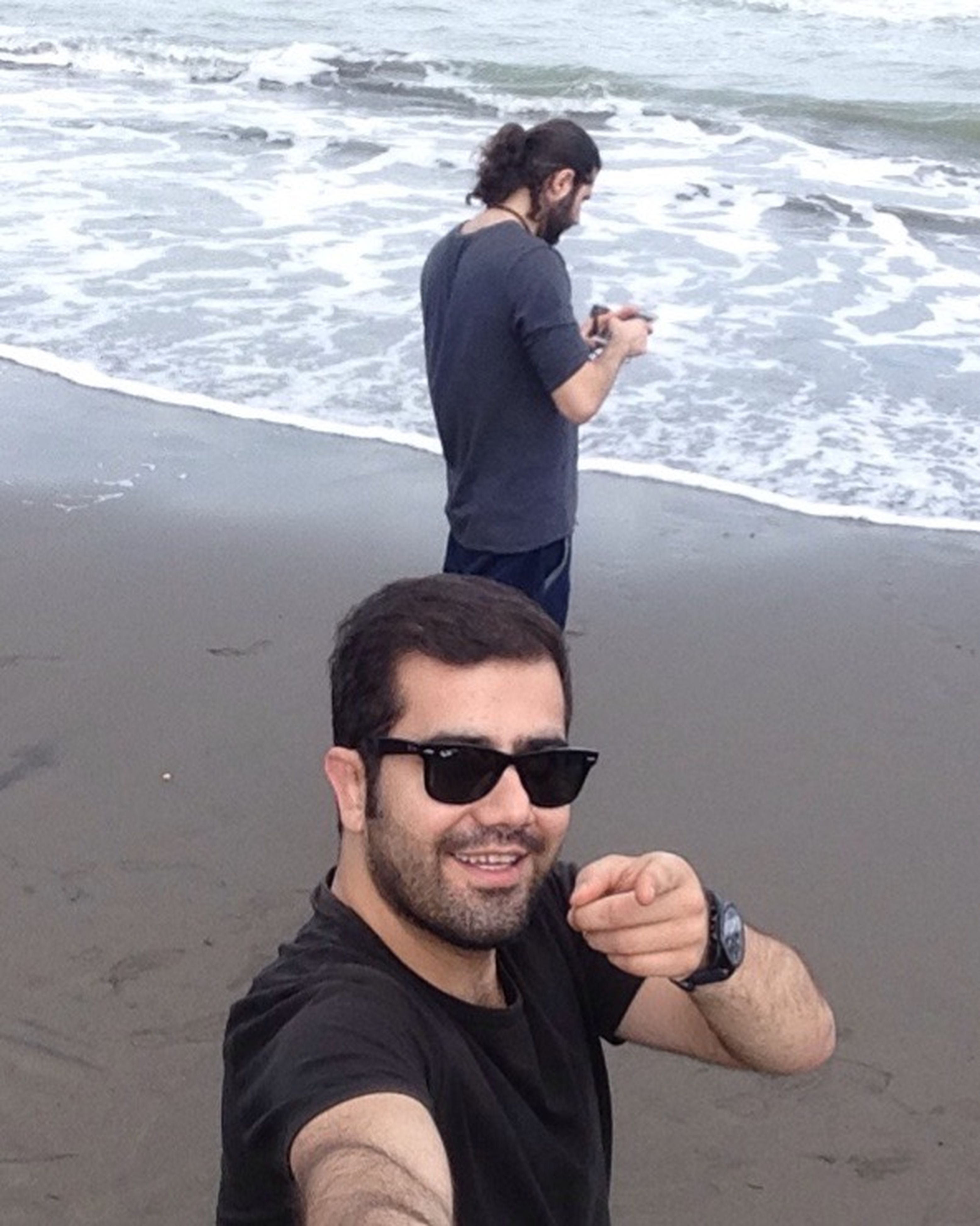 only men, sunglasses, two people, adults only, handsome, beard, wireless technology, men, smart phone, portrait, selfie, portable information device, adult, stubble, young adult, beautiful people, lifestyles, technology, sea, people, communication, togetherness, happiness, cheerful, real people, beach, water, friendship, smiling, outdoors, day