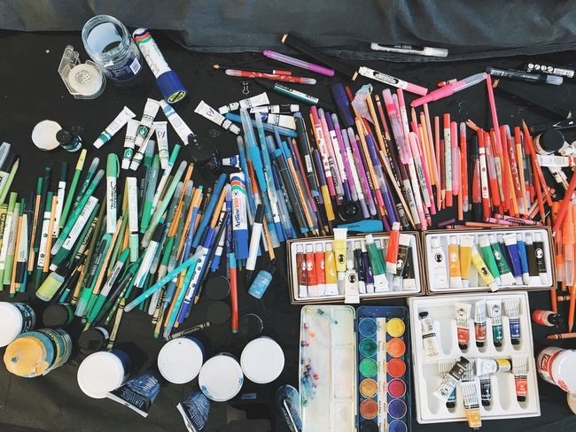 Large Group Of Objects Choice Variation Abundance Indoors  No People Day Close-up Top Perspective Overhead View Acrylic Painting Coloring Pencils Crayons Oil Colour Artists Studio Artists Coloring Paint Colorful Pencils Pencil Pens Colors Color Studio