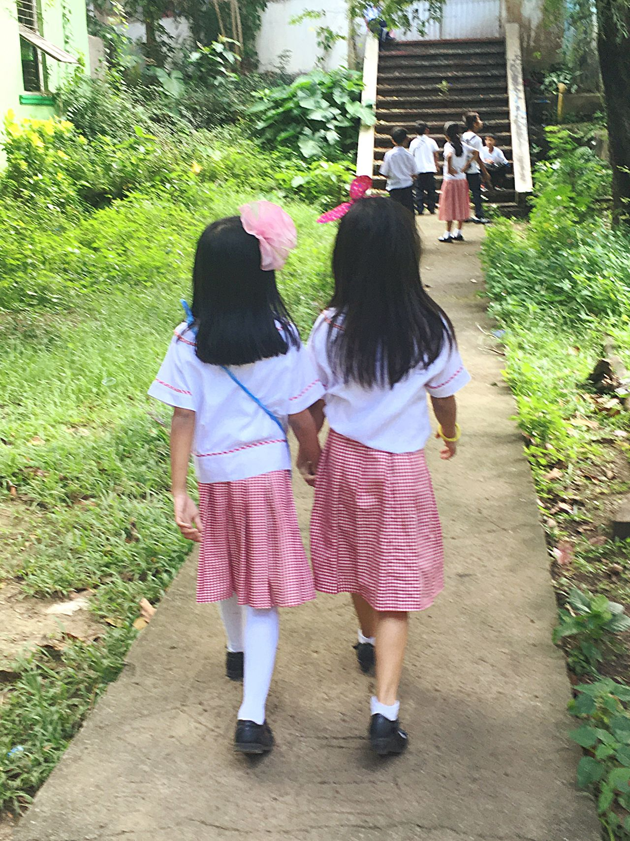 Best friends Rear View Full Length Real People Girls Walking Lifestyles Child Togetherness Childhood Leisure Activity Outdoors Friendship Day People School Public Pathways White Checkered