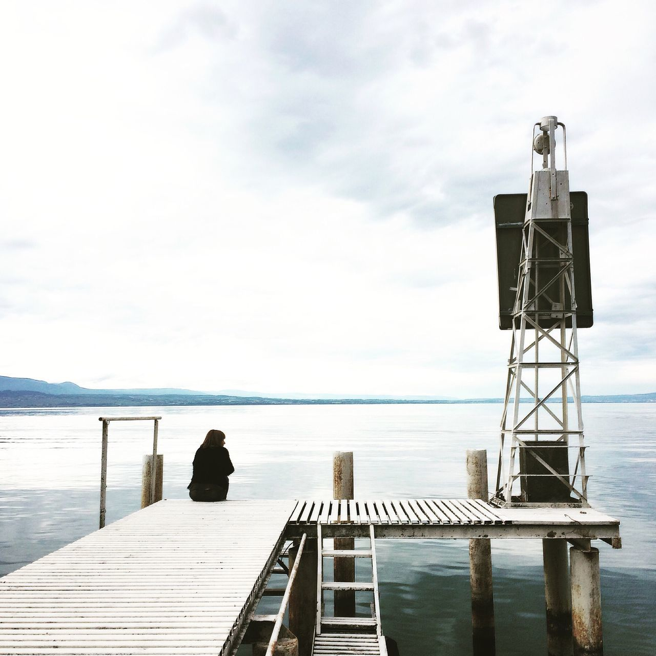 Minimal - Water Sea Sky Cloud - Sky Railing Day Nature Horizon Over Water Tranquility Outdoors Tranquil Scene Beauty In Nature One Person Built Structure Jetty Full Length Men Scenics Diving Platform One Man Only