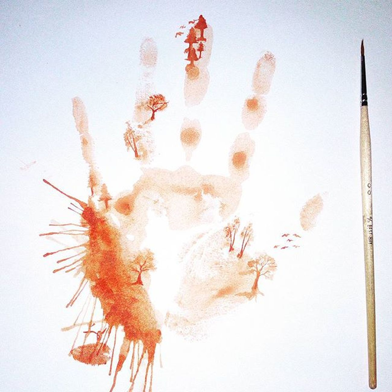 So I had an idea 😄😁 🎨🎨✋🌲🌳Minimalistpainting Art Watercolorpainting HandPainted Handpainting Palm Painting Trees