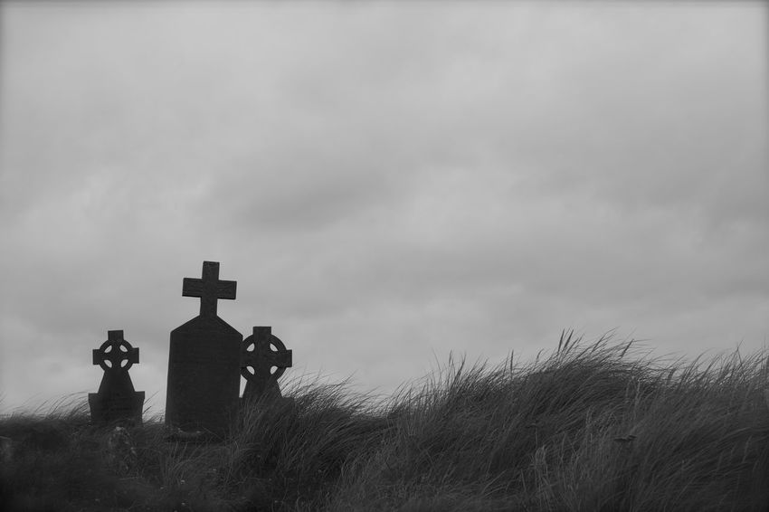 Father, Son and the Holy Spirit Black And White Cemetery Cemeteryart Cross Dead Death Grave Graveyard Graveyard Collection No People Trio Triptych