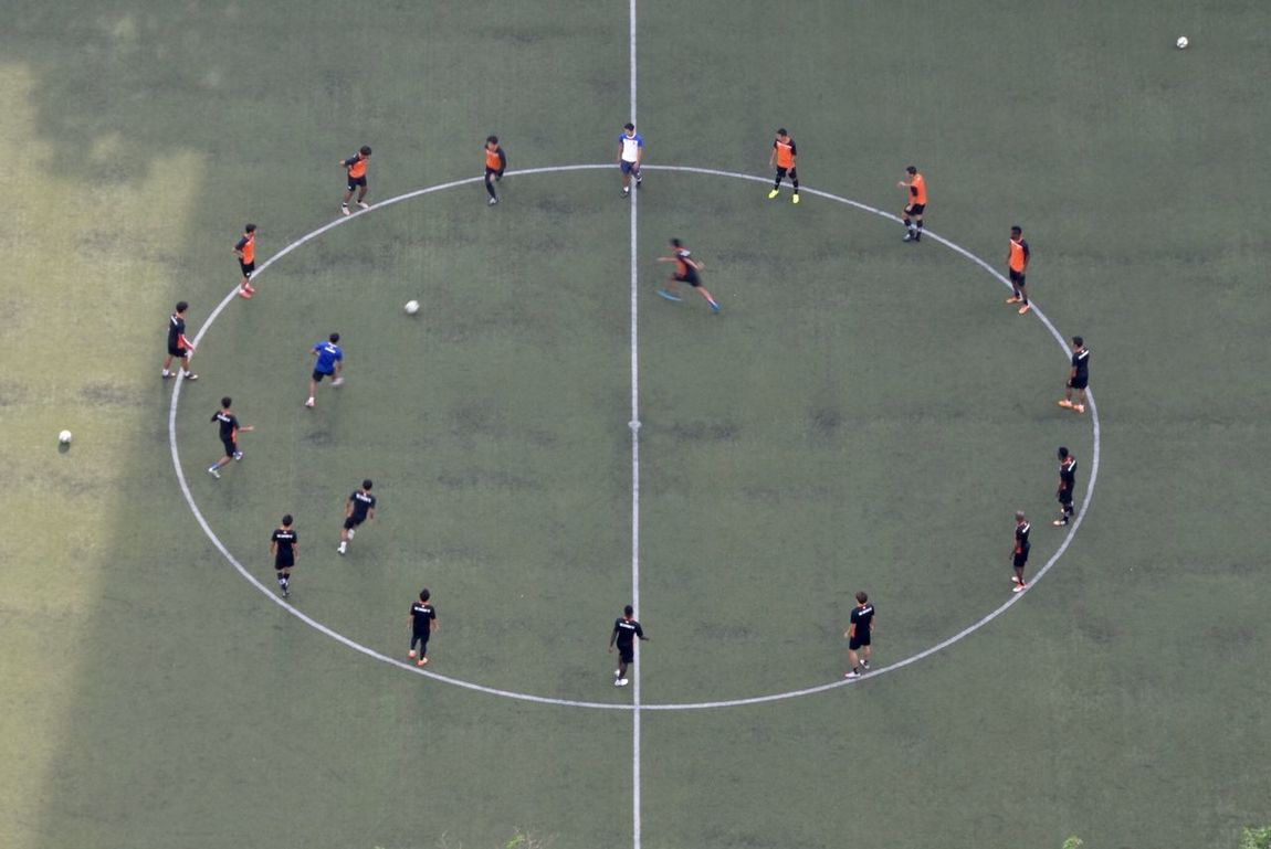 A Bird's Eye View Soccer Field Soccer Training Soccer Practice In The Morning Passing Ball Center Circle Looking Down From Above Aerial Shot