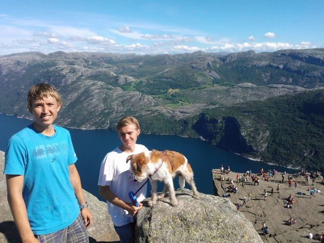 2brothers and their Dog Climbed the Mountains Preikestolen in Lysefjorden, Rogaland Norway Don't Be Square