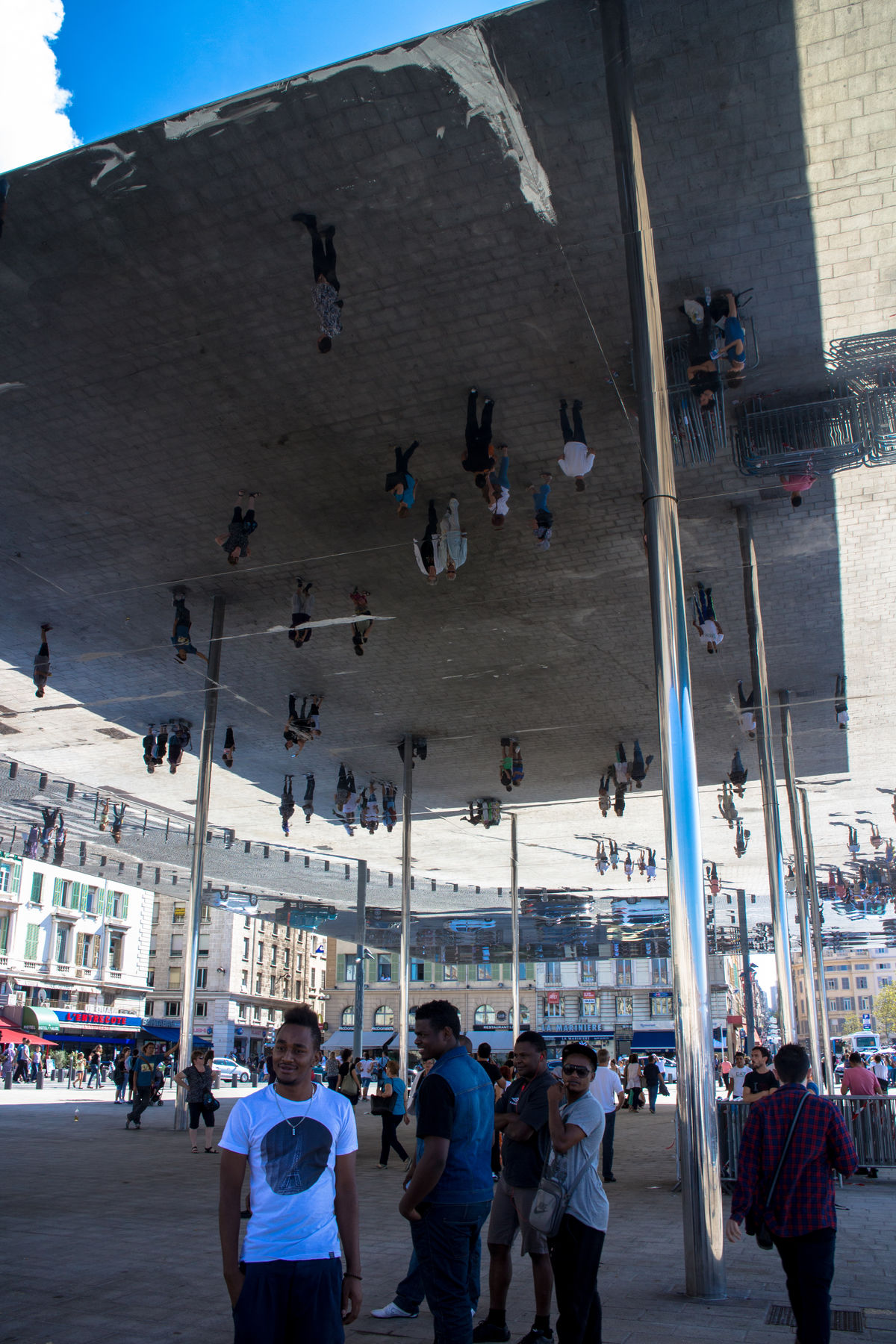 Norman Foster's pavillion in the old port of Marseille, France. Architecture Art France French Large Group Of People Leisure Activity Marseille Mirror Pavilon Public Public Art Reflection Reflective Square Structure Town