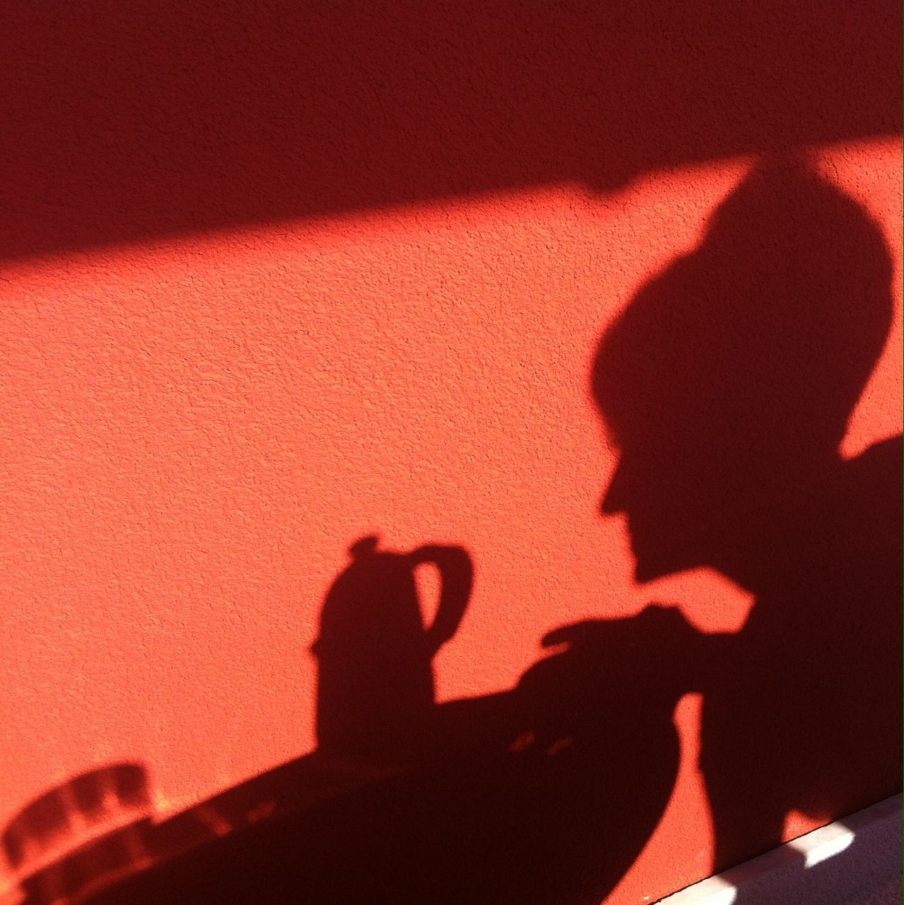 Shadow of woman at table on wall