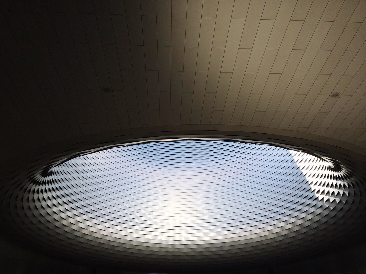 ceiling, indoors, low angle view, no people, pattern, illuminated, built structure, architecture, day