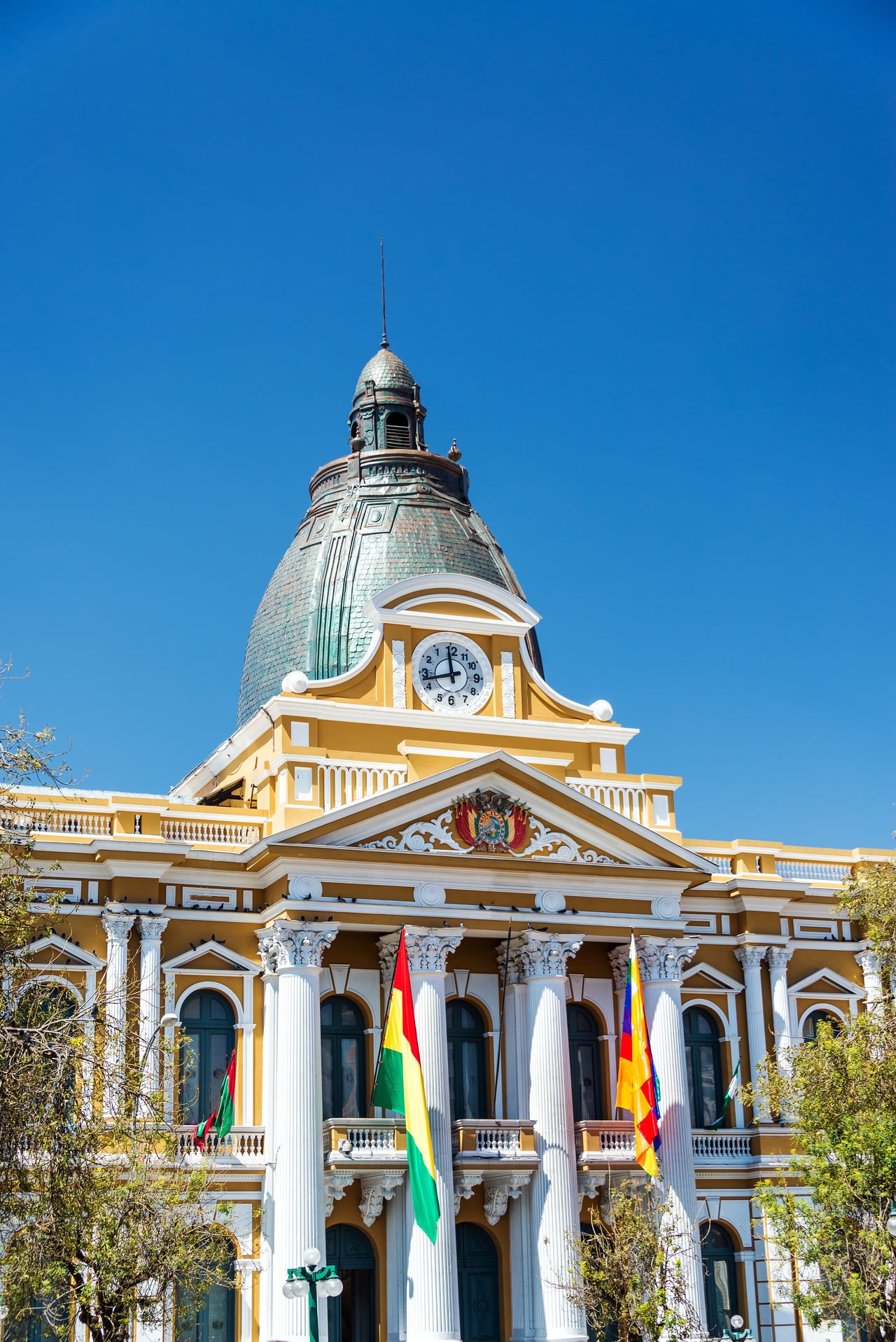 Vertical view of the legislature building in La Paz, Bolivia America Architecture Bolivia Bolivian Capital Cathedral City Cityscape Day Downtown La Paz Landmark Latin Main Murillo Outdoors Palace Plaza South Square Street Tourism Town Travel Urban