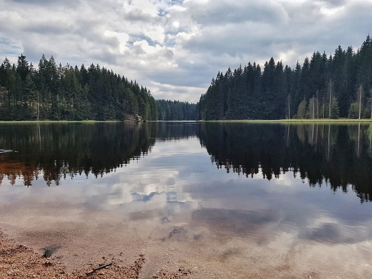 Beauty In Nature Outdoors Scenics Tranquility Sky Cloud - Sky Nature Lake Reflection Water Tree Symmetry The Secret Spaces Secret Places FAR AWAY Vogtland Spring In The Mountains Tranquil Scene At The Lake Vogtlandsee