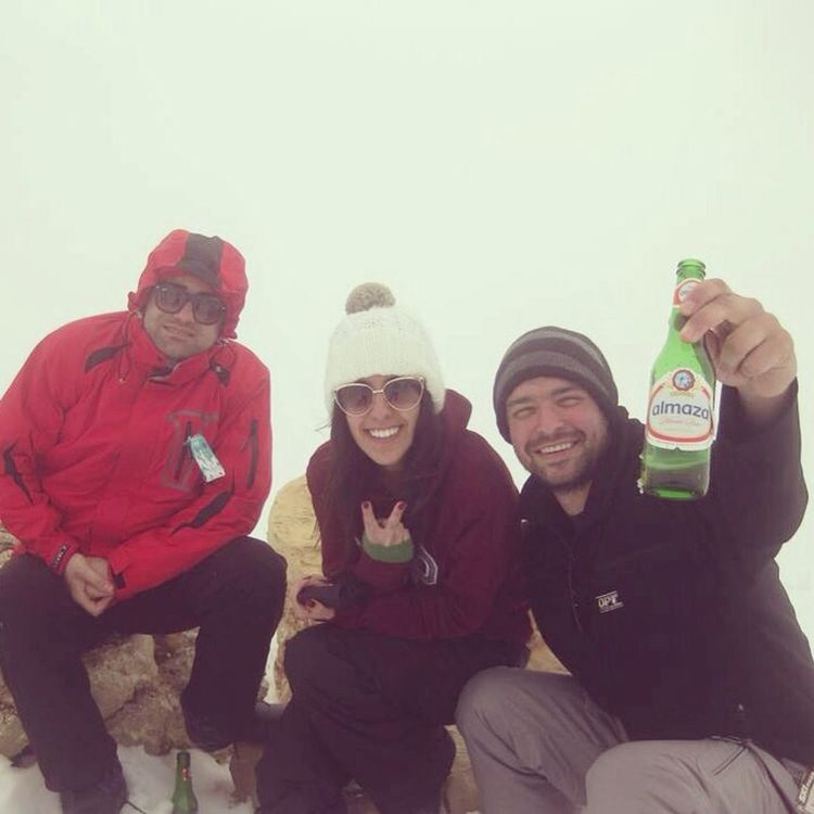 Drinking beer at the top of the mountain! Enjoying Life