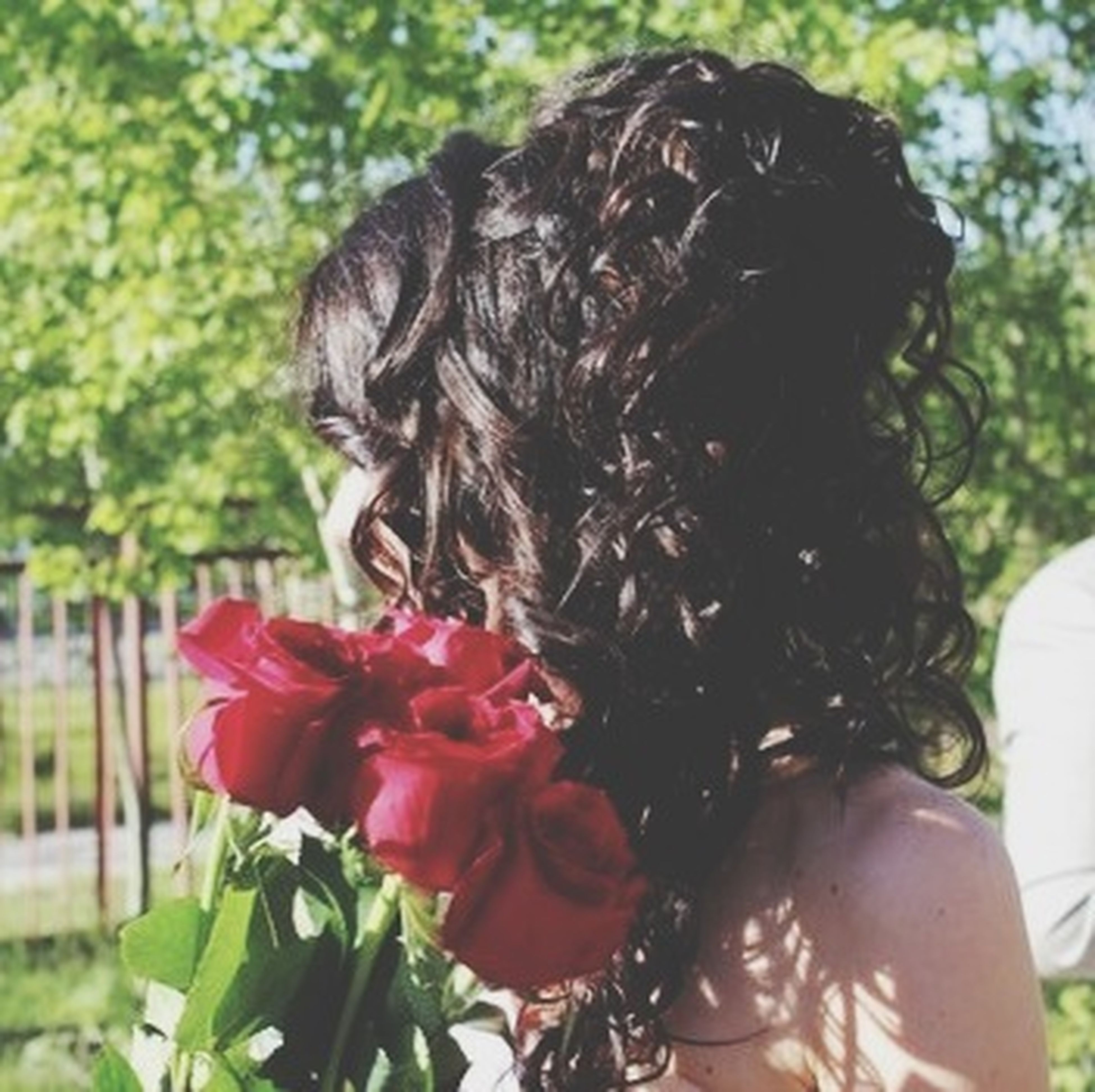 focus on foreground, flower, close-up, lifestyles, park - man made space, headshot, day, outdoors, person, leisure activity, nature, growth, plant, red, young women, holding, petal, tree