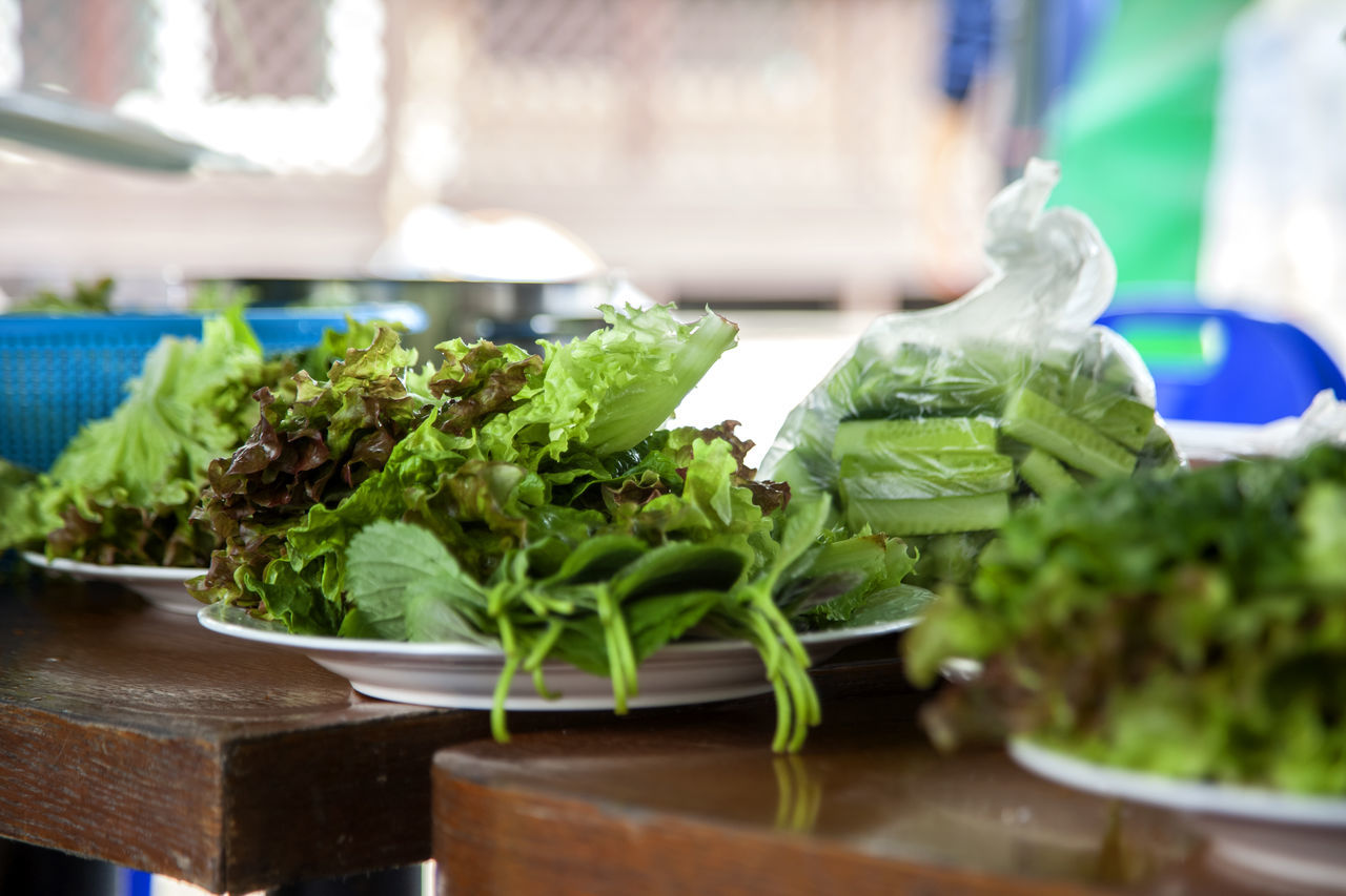 Close-up Day Dish Focus On Foreground Food Freshness Green Green Color Growth Leaf Leaf Vegetable Lettuce Nature No People Organic Plant Preparing For Party Selective Focus Sesame Leaf Still Life Table