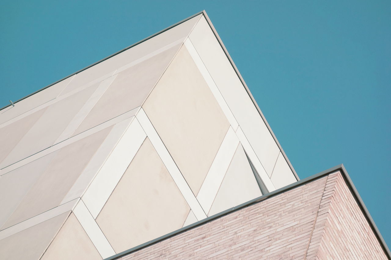 absract Architecture building exterior built structure Clear sky lines and shapes Low angle view minimalism simplicity