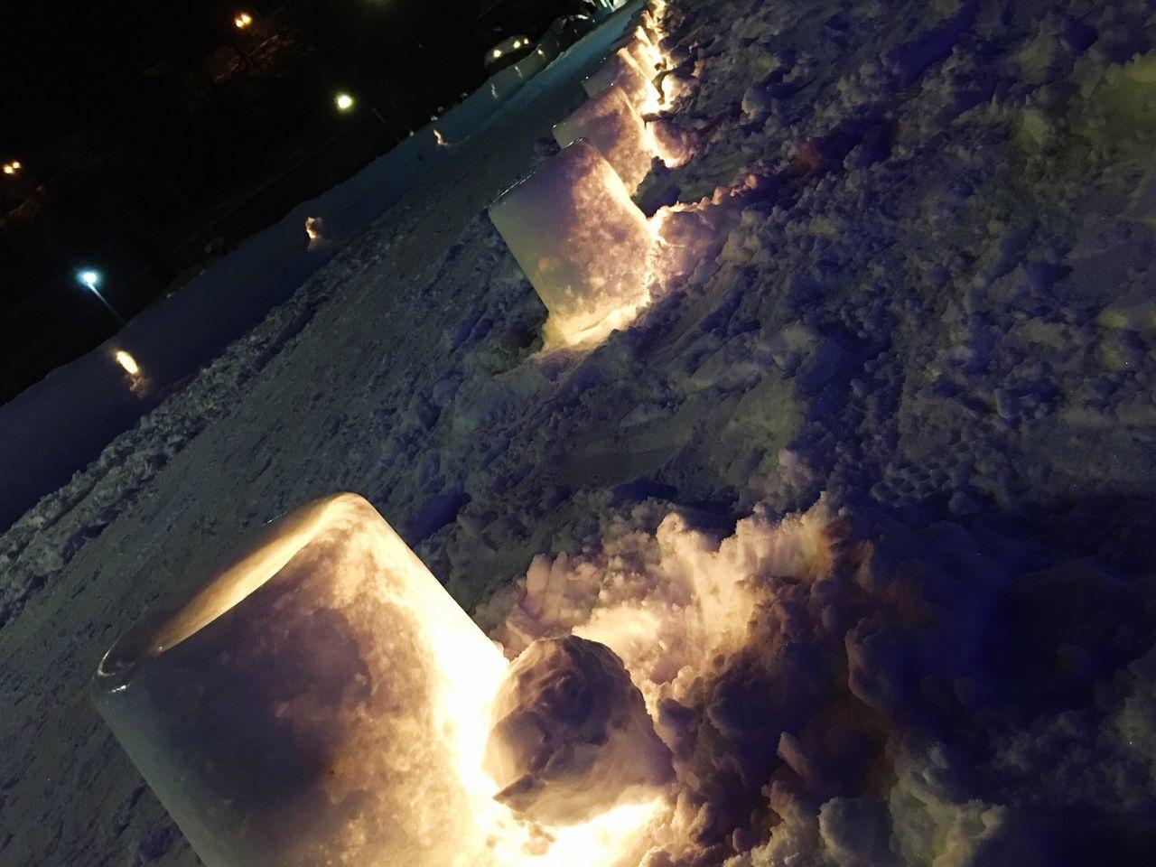 Cuture Glow Winter Japan Snow Light Hokkaido Flame Candle Light Illuminated Snow Path Road