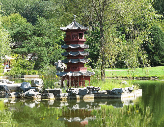 Beauty In Nature Chinese Garden Day Gardens Of The World Grass Green Color Idyllic Lake Lakeshore Landscape Marzahn Nature No People Non Urban Scene Non-urban Scene Outdoors Pagoda Plant Reflection Tranquil Scene Tranquility Travel Destinations Tree Water