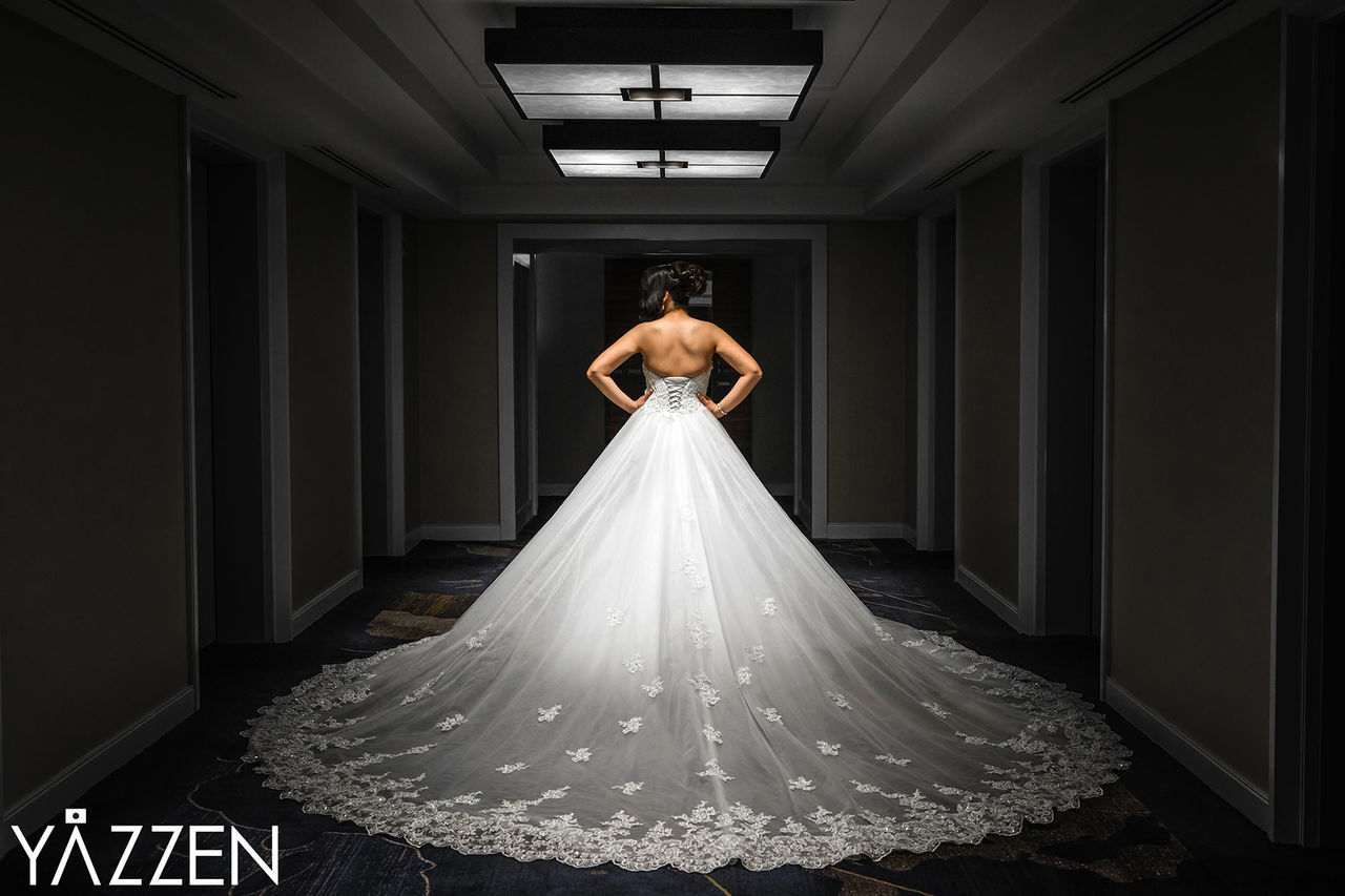 real people, full length, indoors, wedding, standing, wedding dress, bride, one person, night, illuminated, young adult, young women, adult, people