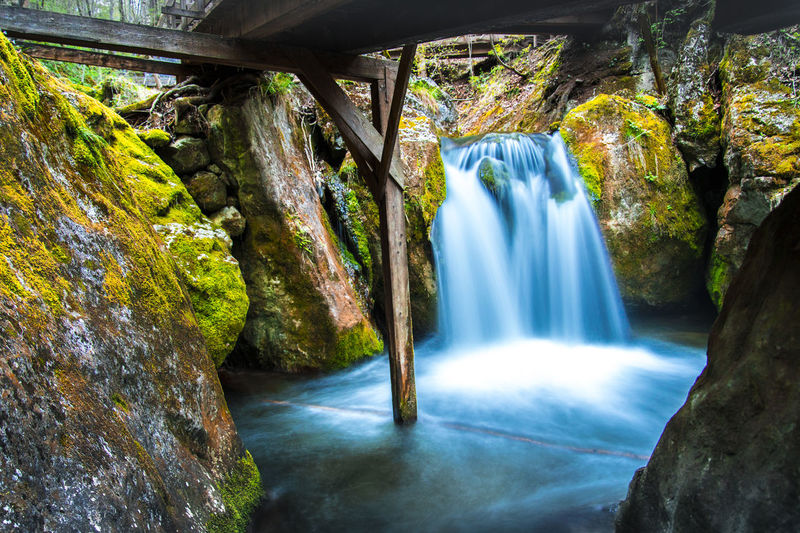 Myrafälle waterfall, Austria Beauty In Nature Bridge Flowing Flowing Water Forest Green Color Idyllic Long Exposure Long Exposure Shot Moss Motion Nature Naturepark No People Non-urban Scene Power In Nature Rock Rock - Object Rock Formation Tourism Travel Destinations Water Waterfall Wood Bridge