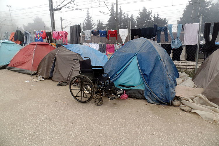 Built Structure Day EyeEm Resist Idomeni Never Forget Outdoors Refugee Camp Social Issues Tents Transportation Wheelchair Resist