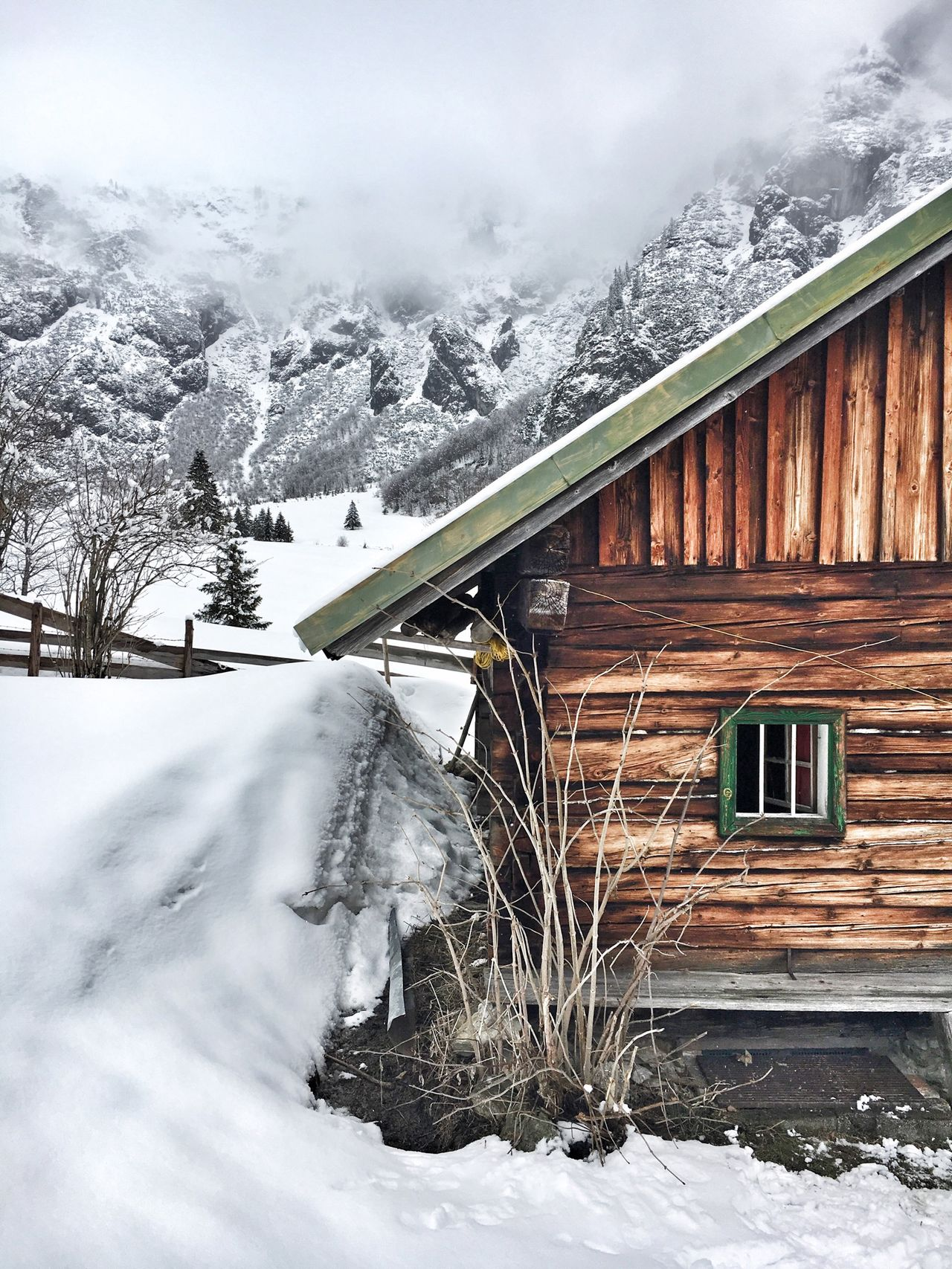Winter Snow Hut Alps Austria Salzburg Wood Nature Landscspe Mountains
