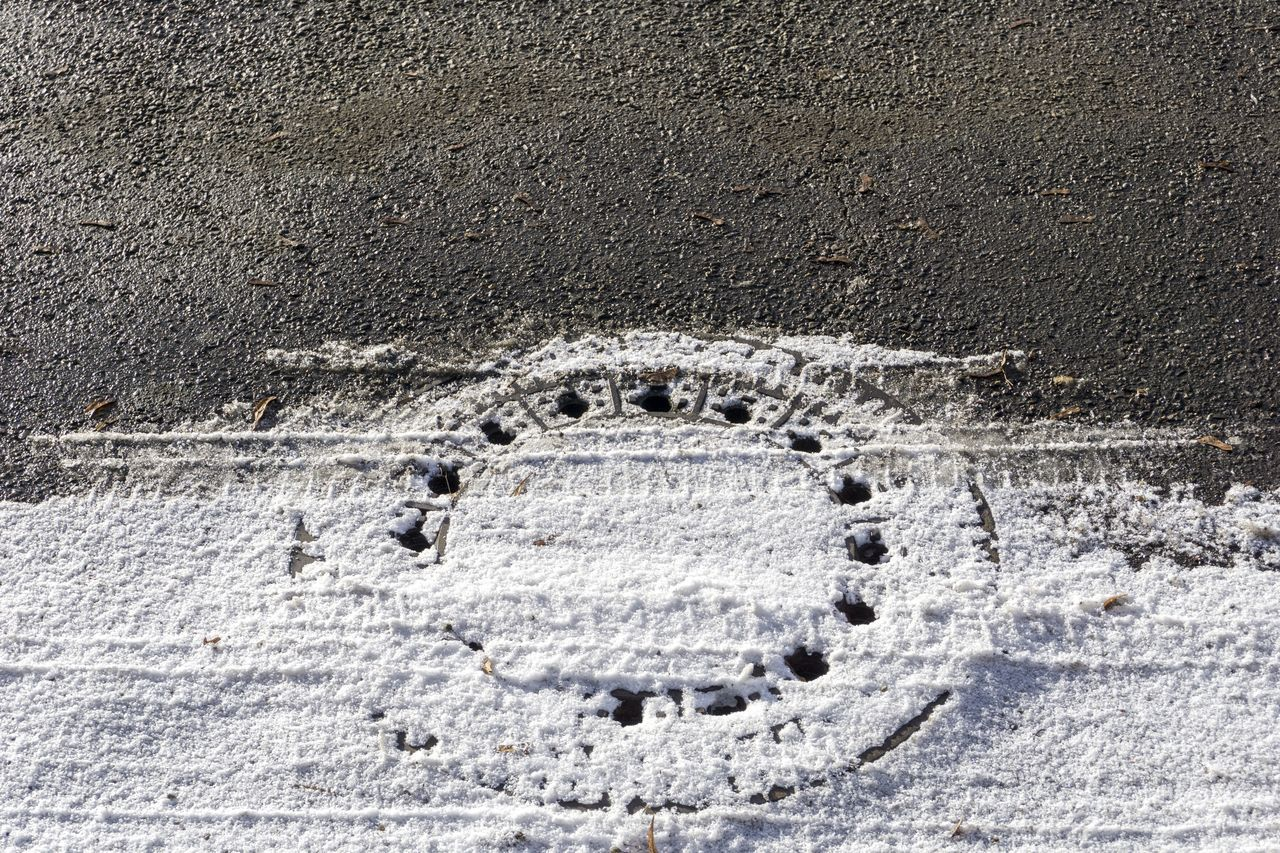 Snowcapped Manhole Cover on the Road Snowcapped Snow Snowy Winter Cold Close-up Frozen Ice Outdoor Iced Manhole Cover Manholecover Covered Street No People Wintertime