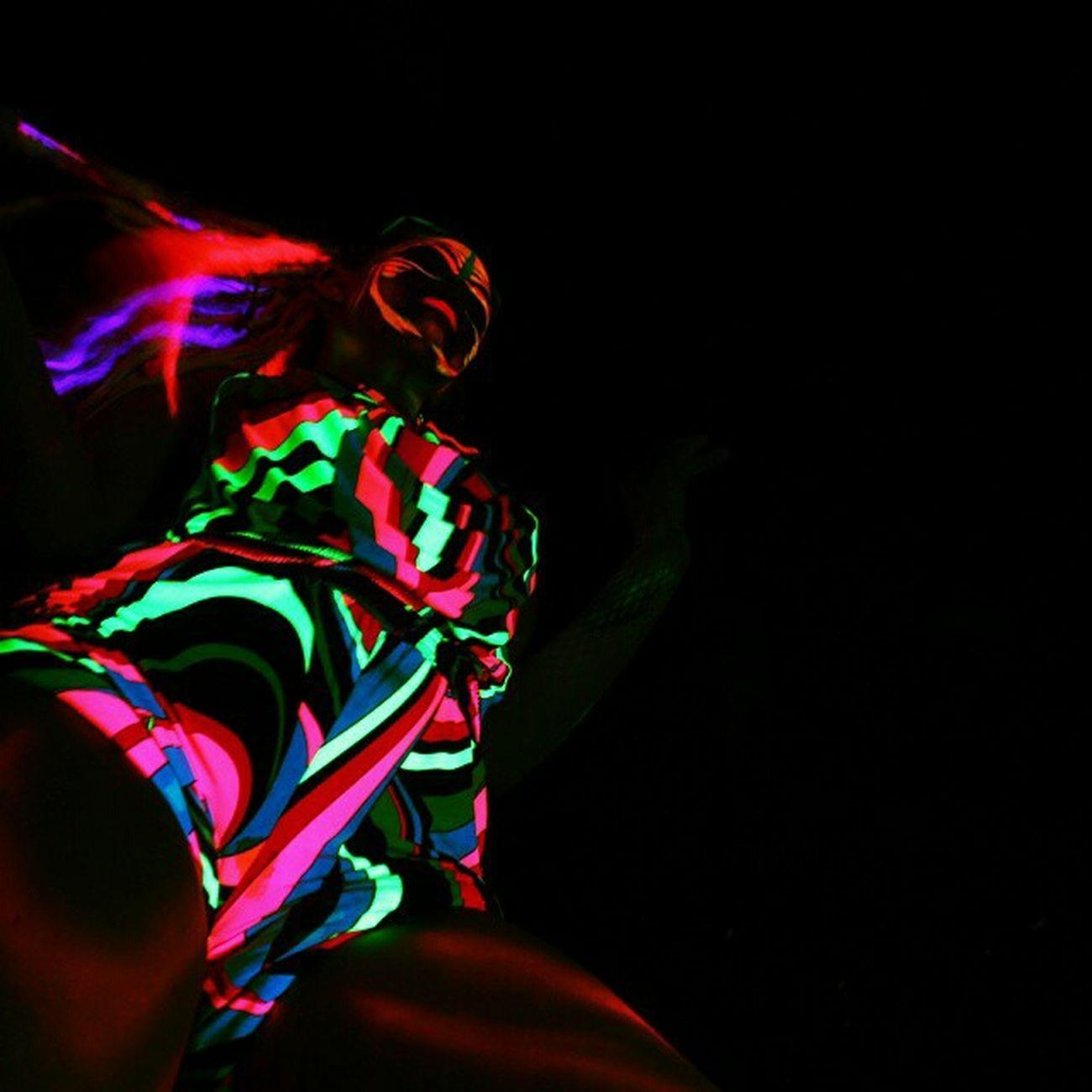 Mari McDowell posing for a blacklight shoot Hot Techno Dancer Austin ATx Blacklight Glow Neon