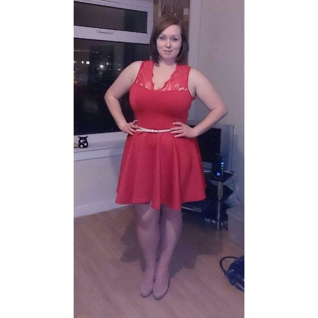 "Absolutely love this dress. ""happy eating"" means it's a little snug! Determined Mustfitagain Reddress Pose diet awno"