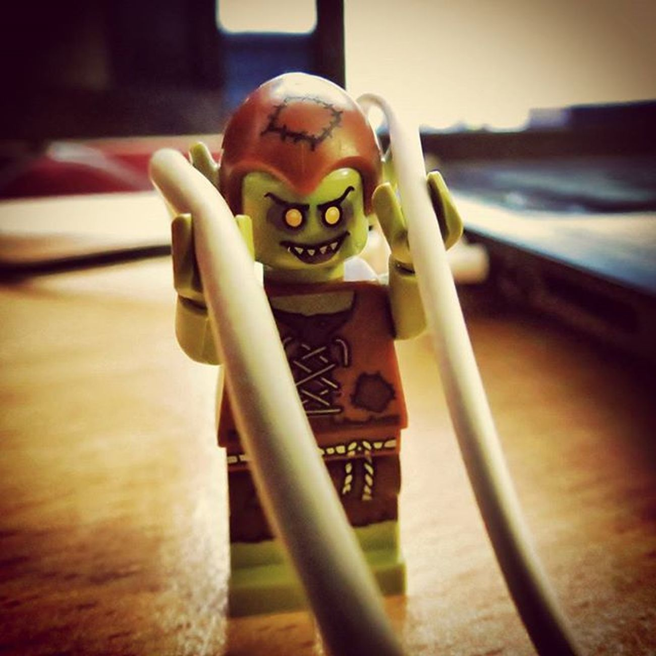 """I am the keeper of the cables! Mwahahaha..."" He's also responsible for tying the ridiculously intricate knots in headphone cords when they're left in pockets. Legophotography LEGO Minfigures Goblin Brickify Womenintoyphotography"