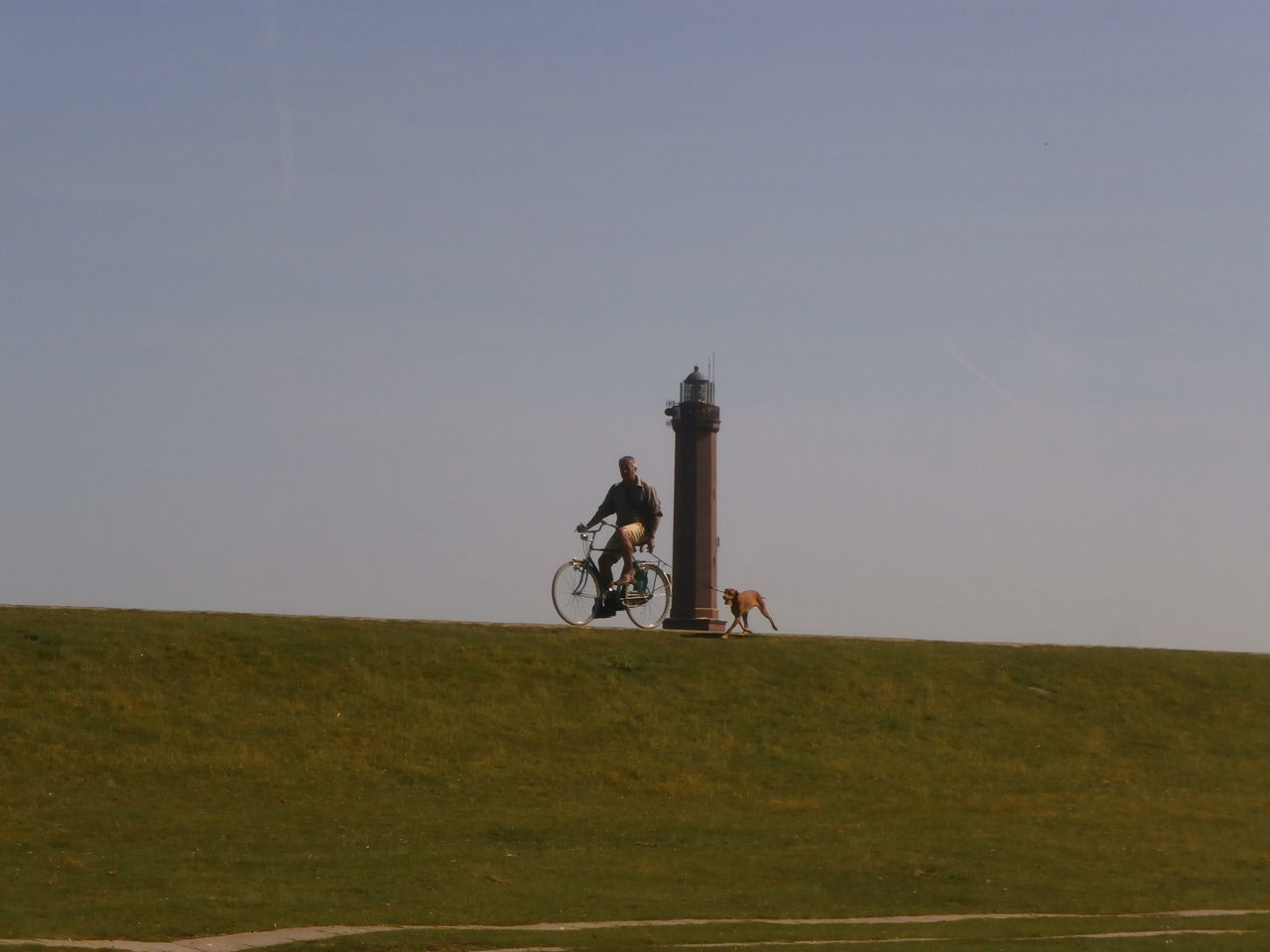 Biking man with dog on the island of Norderney, Germany. Bycicle Distant Germany Lighthouse Norderney One Animal One Person Outdoors Sky