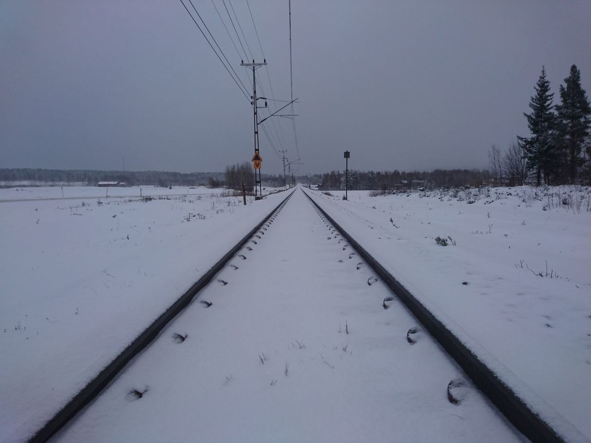Nature Beauty In Nature Outdoors Cold Temperature No People Snow Winter Sky Sunset Day Tracks Railroad Railroad Track Train Transportation Transport Winterland Sweden Norrland Hälsingland November Beauty In Nature
