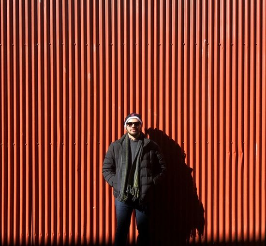 Wall Red Shadow One Person Standing Only Men Cold Vancouver BC Canada