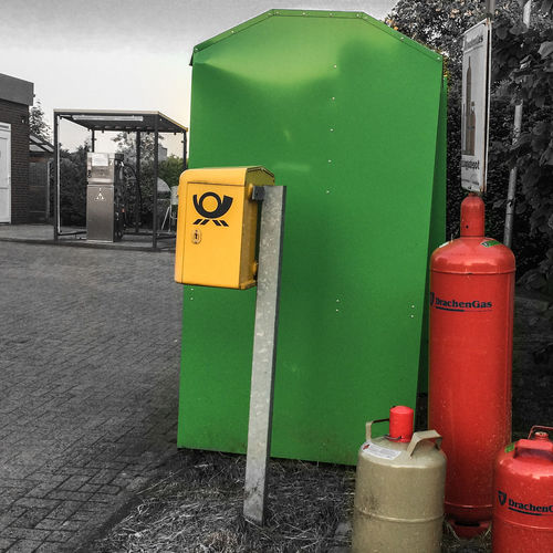 Close-up Day Gas Bottles Green No People Outdoors Postbox Recycling Bank Red Red, Yellow And Green Rural Scene Yellow